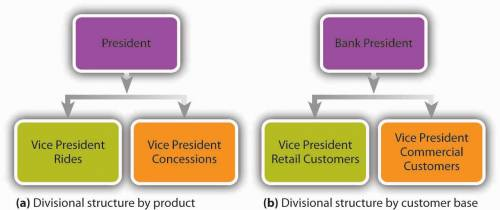 Two simplified org charts. One: divisional structure by product: President who supervises the vice president rides and the vice president concessions. Two: divisional structure by customer base: Bank President who supervises the vice president retail customers and the vice president commercial customers.