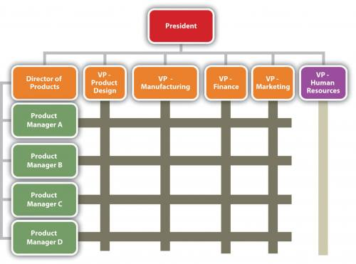 An org chart that runs both horizontally and vertically. The president is at the top, directly beneath are the Director of Products, the VP of Product design, the VP of Manufacturing, the VP of Finance, the VP of Marketing, and the VP of Human resources. Under the Director of Products are Product Managers A, B, C, and D. The chart indicates that while they directly report to the director of products, they can also report to any of the VPs, depending on the products/projects.