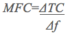 Equation showing that Marginal factor cost (MFC) is the change in total cost (ΔTC) divided by the change in the quantity of the factor (Δf)