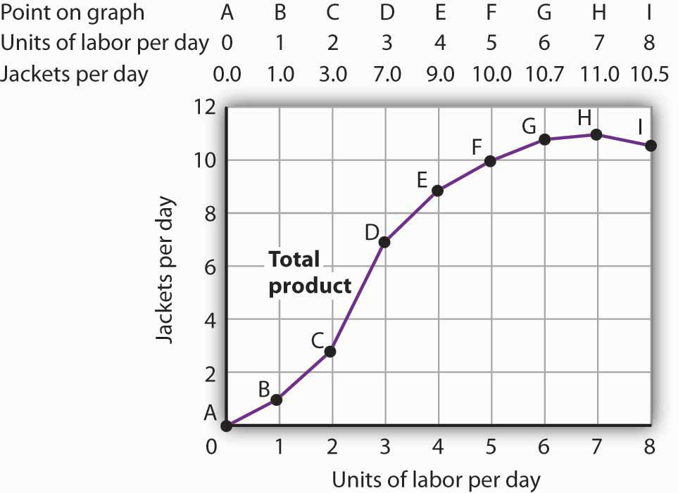 The Total product curve showing the number of jackets per day that the company could produce on the y-axis (either 2, 4, 6, 8, 10, or 12), and the units of labor per day on the x-axis (numbers 0 through 8). The curve rises upward but each additional unit brings fewer jackets, especially after 4. At 7 units of labor per day, the amount of jackets per day begins to decrease.