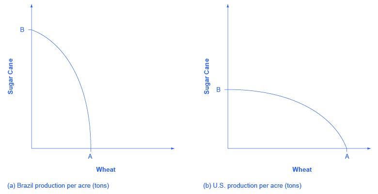 Comparative graphs showing he production possibilities curve for wheat and sugar cane in both Brazil and the United States.