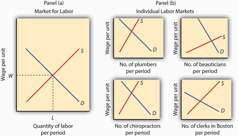 The first graph shows a labor market with identical workers, showing the quantity of demand and supply for the market of labor, while the second set of graphs shows individual labor markets with their individual supply and demand curves.