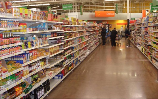 This photo shows people shopping in a grocery store