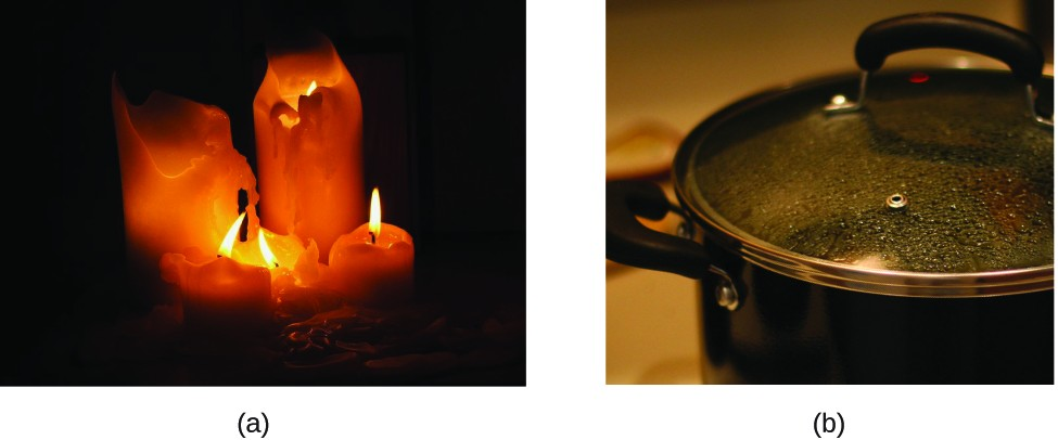 FigureA is a photograph of 5 brightly burning candles. The wax of the candles has melted. FigureB is a photograph of something being heated on a stove in a pot. Water droplets are forming on the underside of a glass cover that has been placed over the pot.