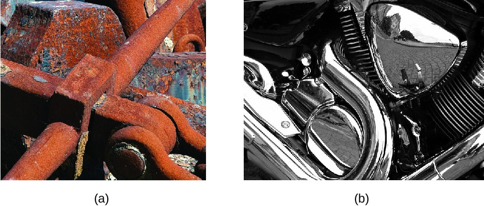 FigureA is a photo of metal machinery that is now mostly covered with reddish orange rust. FigureB shows the silver colored chrome parts of a motorcycle. One of the parts is so shiny that you can see a reflection of the surrounding street and buildings.