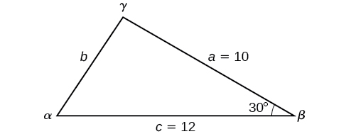 Angle beta is between sides a and c. The other two angles and the side length b are unknown.