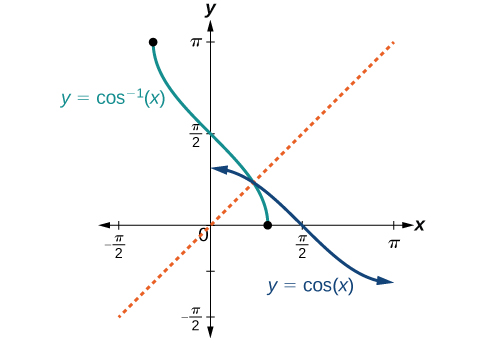 The cosine function decreases from a maximum of 1 to a minimum of -1 from x=0 to pi. The inverse function arccosine decreases from pi at x=-1 (with vertical, decreasing slope) to 0 at x=1. At the end it has vertical slope again; the slope gets shallower from vertical and then steeper to vertical again.