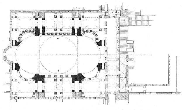 This is Isidorus of Miletus' and Anthemius of Tralles' plan for the Hagia Sophia.