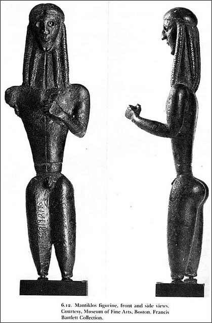 Two photos, a front view and a profile, of the Mantiklos Apollo statue. Mantiklos Apollo is depicted as a nude male with prominent thighs and a chest and shoulders that are much wider than his waist.