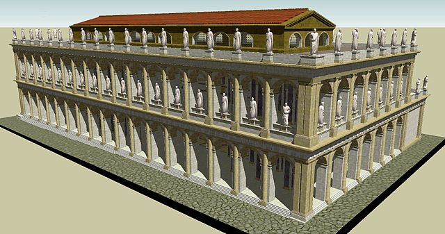 This is a computer-generated image of the Basilica Julia. It shows the ornate, two-tiered structure and the statues of famous historical figures mentioned previously.