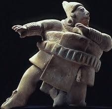 A figure of a large man leaning to the side with one leg out, as though in motion.