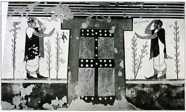 This is a photo of the Augurs, a fresco, it depicts two figures on either side of a door. Each extends one arm towards the door and the other arm places the hand against their forehead in a gesture of salutation and mourning.