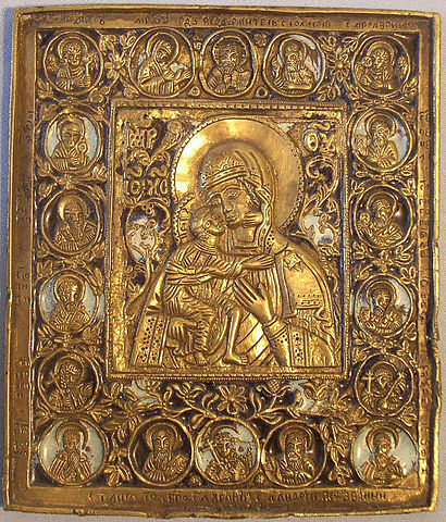 This photo shows the Feodorovskaya icon. It shows the Virgin Mary holding Christ.