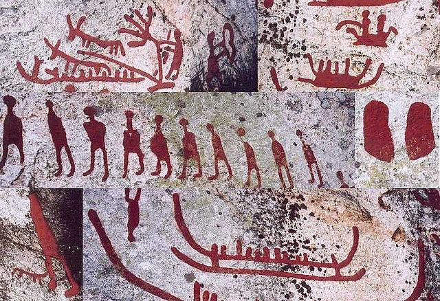 Collage of photographs that depict various scenes from a petroglyph.