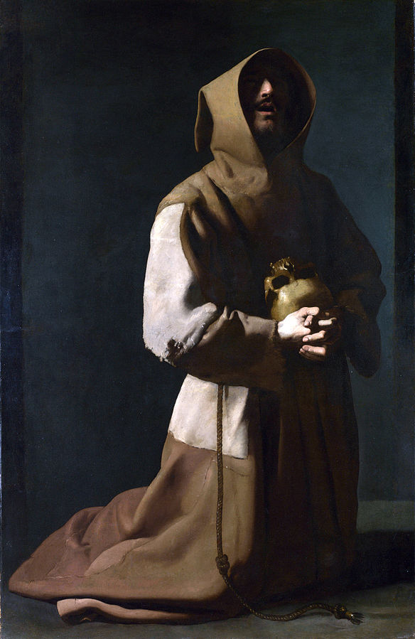 Saint Francis is depicted kneeling, holding a skull to his chest, with part of his face hidden in the shadows of his hood.