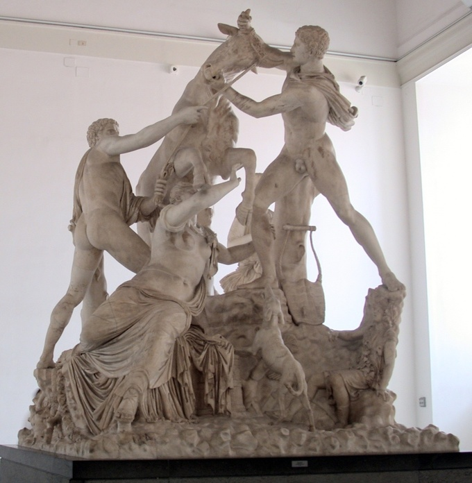 This is a photo of the Farnese Bull. This huge marble statue, circa 200 to 180 BCE, was sculpted by Apollonius and Tauriscus of Tralles, Rhodes.