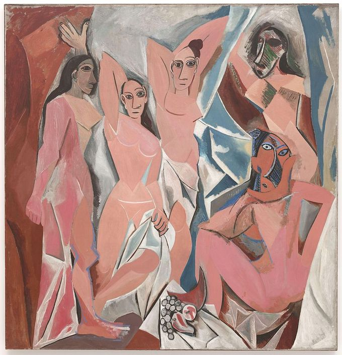 This painting portrays five nude female prostitutes. Each figure is depicted in a disconcerting confrontational manner and none are conventionally feminine. The women appear as slightly menacing and rendered with angular and disjointed body shapes.