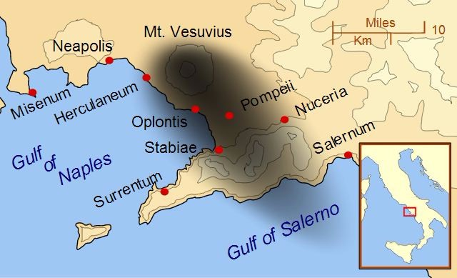 This map shows the effects of the eruption of Mount Vesuvius. The black and gray areas on the map show the direction in which the wind blew the ash and pyroclastic clouds.