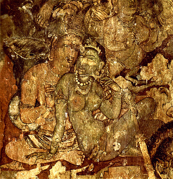 This is a photo of an Ajanta Cave wall painting of a man and a woman sitting side-by-side. The woman is leaning into the man.