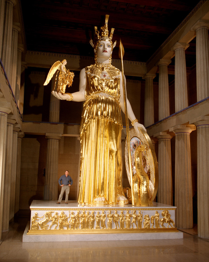 This is a photo of a life-size, gigantic reconstruction of Phidias's Athena Parthenos.