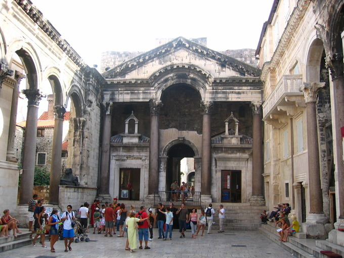 This is a photo of the Peristyle at Diocletian's Palace. The Peristyle is the central square of the palace, where the main entrance to Diocletian's quarters is located.