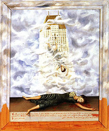This painting depicts Hale standing on the balcony, falling to her death while also lying on the bloody pavement below.