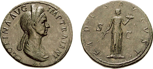 This photo shows two coins with images of Pompeia Plotina. The profile view of Pompeia Plotina shows the hairstyle she established.