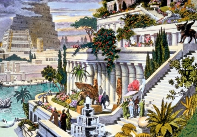 19th-century hand-colored engraving portrays the hanging gardens of Babylon with the Tower of Babel in the background. The artist has rendered an ascending series of tiered gardens with trees, shrubs, and flowers against a white structure with columns and a staircase. Gold lamassu statues flank the staircase.