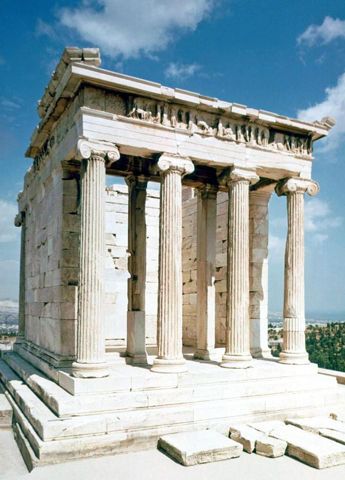 This is a current-day photo of the ruins of the Temple of Athena Nike, showing that the structure is a tetrastyle (four column) Ionic structure with a colonnaded portico at the front.