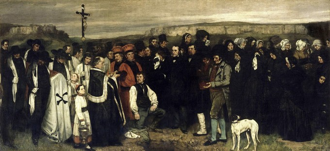 Religious figures and mourners in black gather outside for a burial.