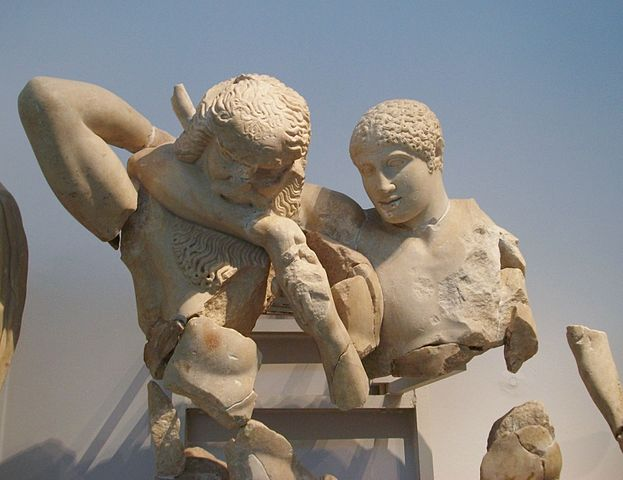 This is a photo of a detail of the statue Centauromachy, which depicts a battle between the half-man, half-horse centaurs and the Lapiths.