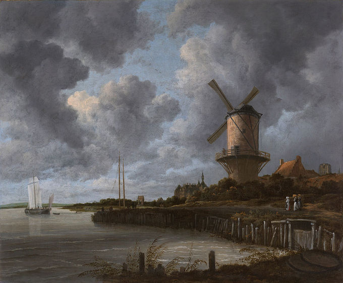 The painting shows the riverside town of Wijk bij Duurstede with a giant windmill dominating the scene.