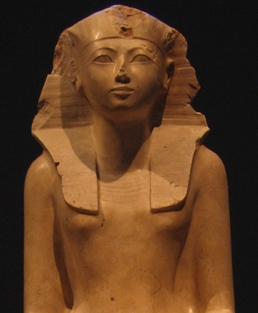 Statue depicts Hatshepsut from the waist up.