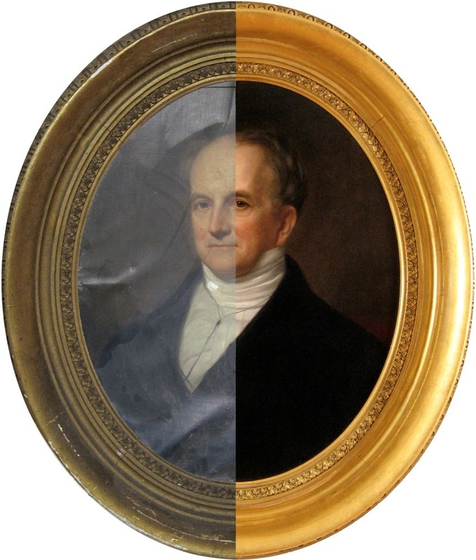 Image depicts a portrait of a man in a gold oval frame. The image is bisected vertically. On the left, pre-restoration, the portrait and frame are obscured by age and damage. On the right, post-restoration, the portrait and frame are vibrant and look new.