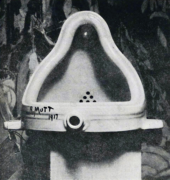 "This piece is a porcelain urinal, signed ""R. Mutt 1917"""