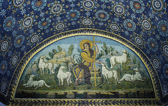 This photo shows a mosaic of Christ as the Good Shepherd.