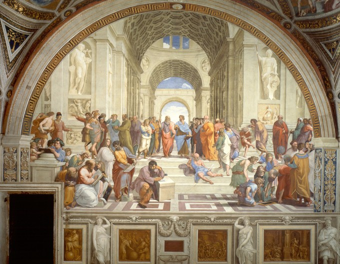 This fresco depicts a hall with a gathering of over twenty philosophers.