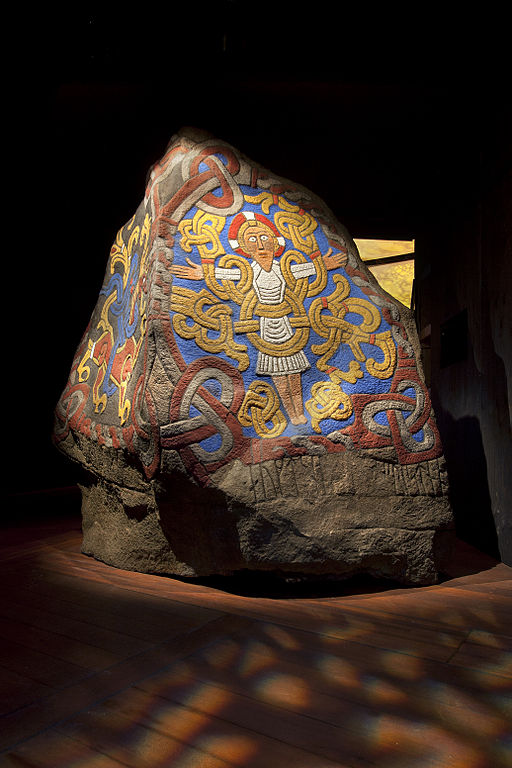 This replica shows the carvings on the stone brightly colored.