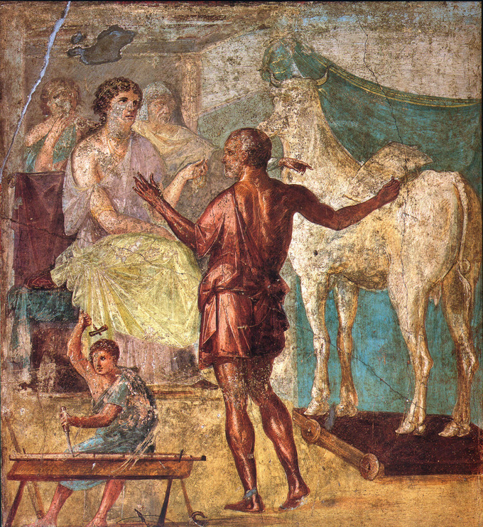 This photo shows a panel from The Ixion Room in the House of Vettii. Each red panel in the room is a scene that depicts myths where the main character commits a major slight. This panel depicts Daedalus presenting a wooden cow to Pasiphaë, the wife of King Minos.