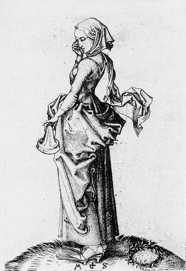 This black and white engraving depicts a woman in a dress wearing a scarf on her head, touching her right eye.