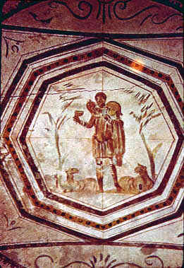 This a photo of a fresco painting depicting the Good Shepherd.