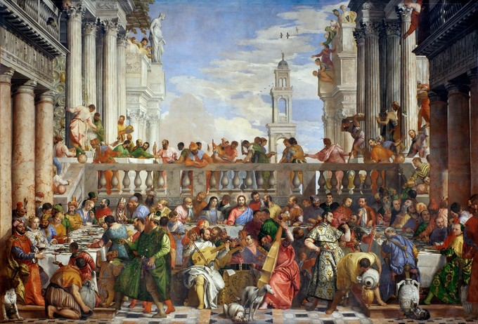 This painting depicts the Bible story of the Marriage at Cana, a wedding banquet at which Jesus converts water to wine. The architecture features Doric and Corinthian columns surrounding a courtyard enclosed with a low balustrade. In the foreground, a group of musicians play Late–Renaissance instruments (lutes and stringed instruments).