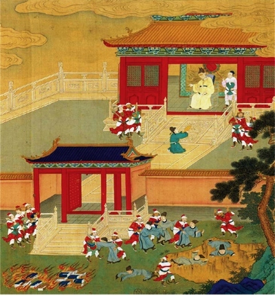 This bright and colorful painting depicts a temple in the background and a pile of burning books and scholars being pushed into a giant hole in the foreground.