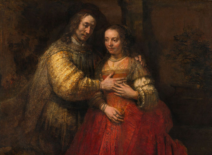 This painting depicts a man and woman, the man's left hand on the woman's shoulder and his right hand on the front of her body.