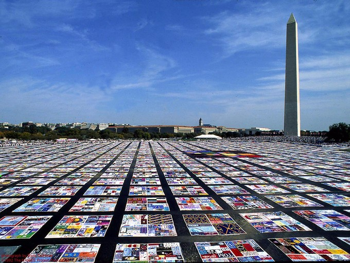 A photo of the quilt in Washington DC, showing its enormous size.