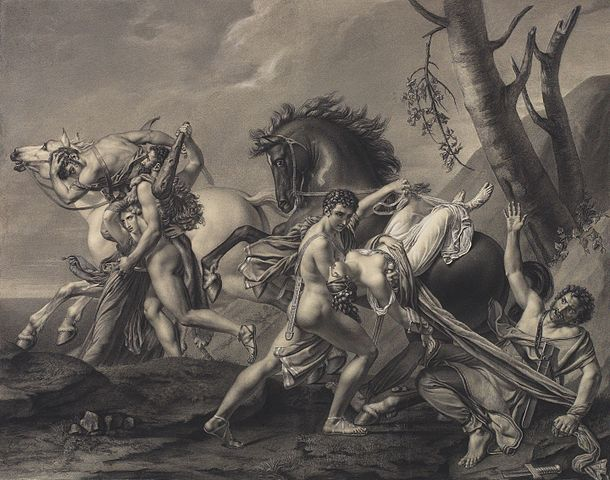 Theseus and Pirithous are depicted as nude men saving two women who were abducted by men on horses.