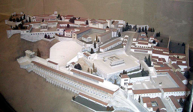 This is a photo of a scale model of Pergamon as described in the caption.