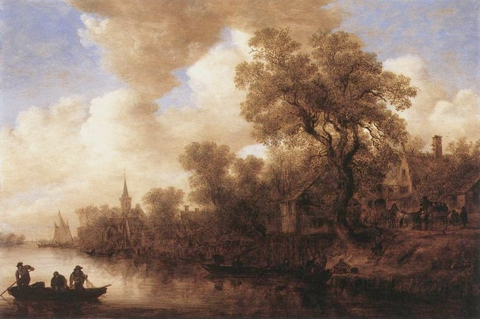 Scene depicts a river and a river bank. A house is seen on the bank and the outline of three men on a small boat is seen in the bottom left.