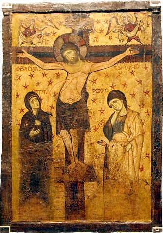 This photo shows a double-sided icon with the Crucifixion and the Virgin Hodegitria.