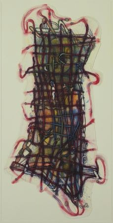This lithograph portrays an abstract object or figure that appears to be bound with ropes or string and wiggling around.